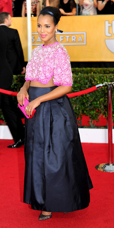 . Kerry Washington arrives at the 20th Annual Screen Actors Guild Awards  at the Shrine Auditorium in Los Angeles, California on Saturday January 18, 2014 (Photo by Michael Owen Baker / Los Angeles Daily News)