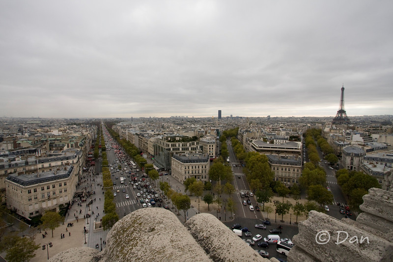 View from the top of the Arch de Triomphe - you can see the Champs-Elyssee and the Eiffel Tower.