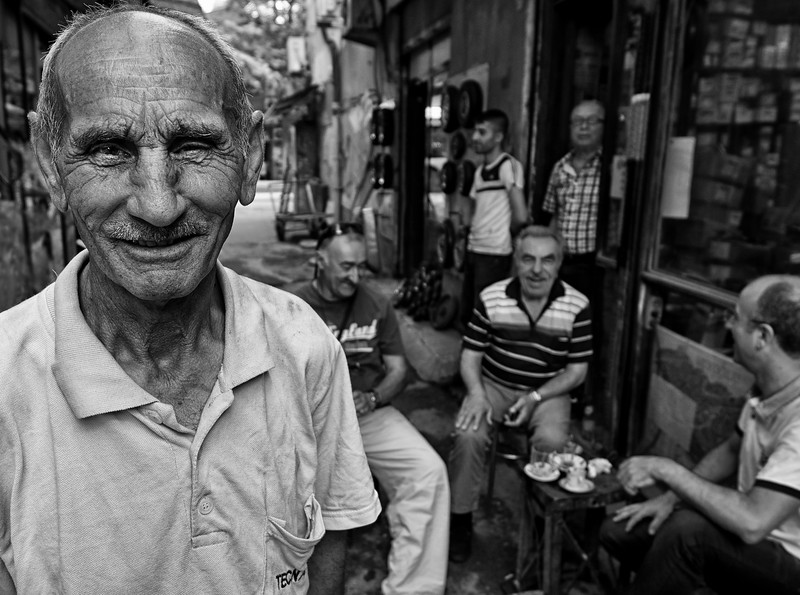 Locals having coffee.  Istanbul, Turkey 2016.
