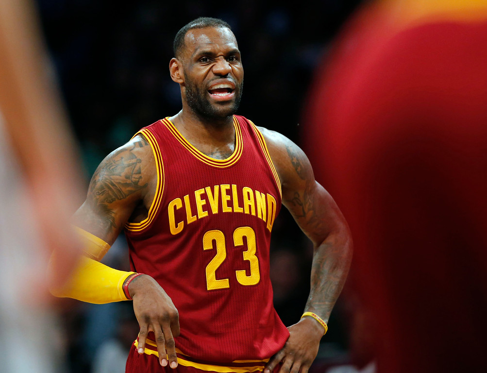 . Cleveland Cavaliers forward LeBron James (23) talks to his teammates in the second half of an NBA basketball game against the Brooklyn Nets, Wednesday, Jan. 20, 2016, in New York. The Cavaliers defeated the Nets 91-78. (AP Photo/Kathy Willens)