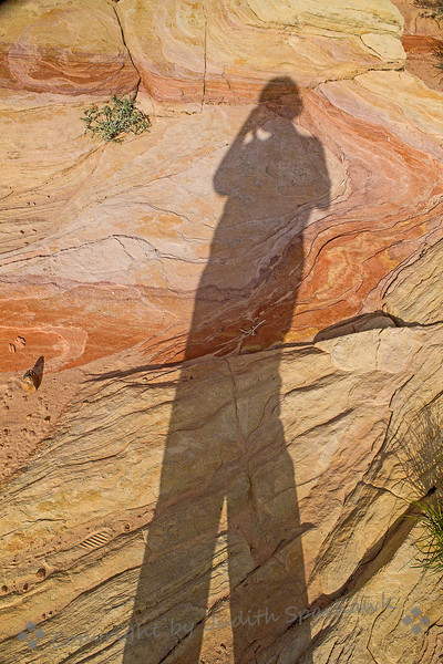 Self Portrait in the Valley of Fire ~ I couldn't resist taking a shadow self-portrait against the beautiful rock formations, documenting that yes, I really was here!