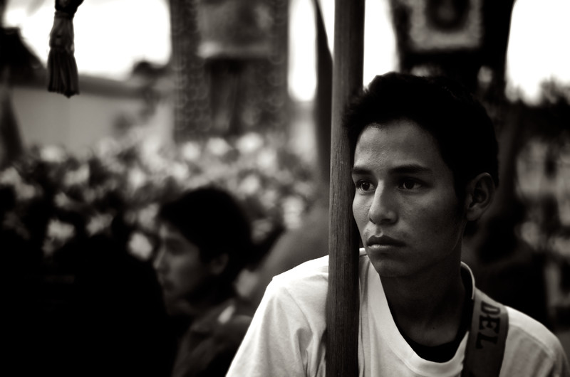 Exhausted Banner Bearer - Good Friday Procession - Oaxaca, Mexico