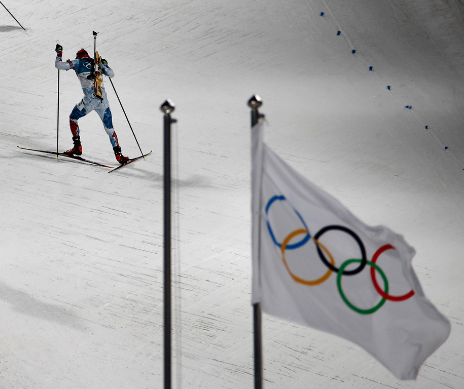 . Michal Krcmar, of the Czech Republic, participates in the men\'s 12.5-kilometer biathlon pursuit at the 2018 Winter Olympics in Pyeongchang, South Korea, Monday, Feb. 12, 2018. (AP Photo/Charlie Riedel)