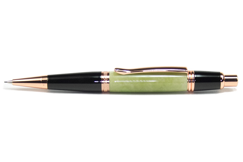 Sierra Button Click Pencil Bright Copper shown with Fir Green Rhinoplastic