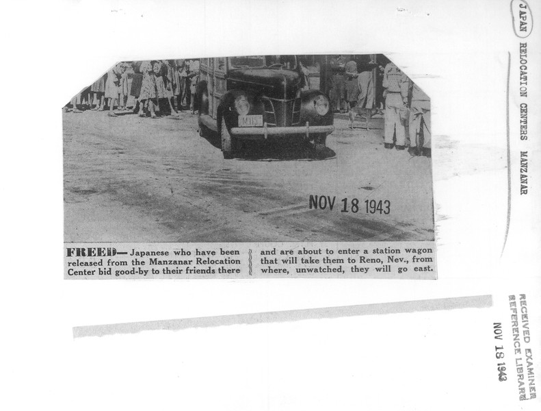 """""""Freed -- Japanese who have been released from the Manzanar Relocation Center bid good-by to their friends there and are about to enter a station wagon that will take them to Reno, Nev., from where, unwatched, they will go east.""""--caption on photograph"""