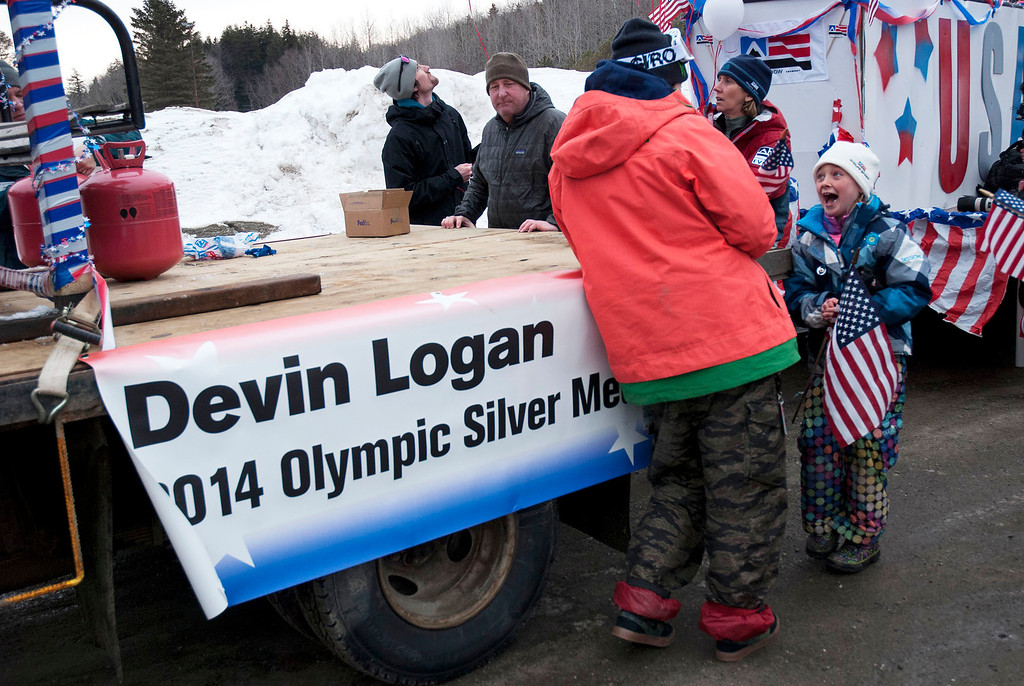 """. Kayla Rice/Reformer                                 Elaina Krusiewski, 8, of Dover laughs while talking to Mount Snow athlete and Olympic silver medalist Devin Logan before the \""""Devin Day\"""" parade and celebration in Dover on Saturday."""