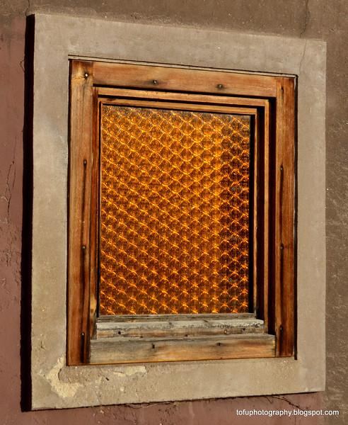 A glass brick window in Prague, Czech Republic, in February 2014