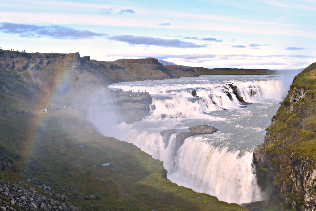 Gullfoss waterfall Iceland rainbow
