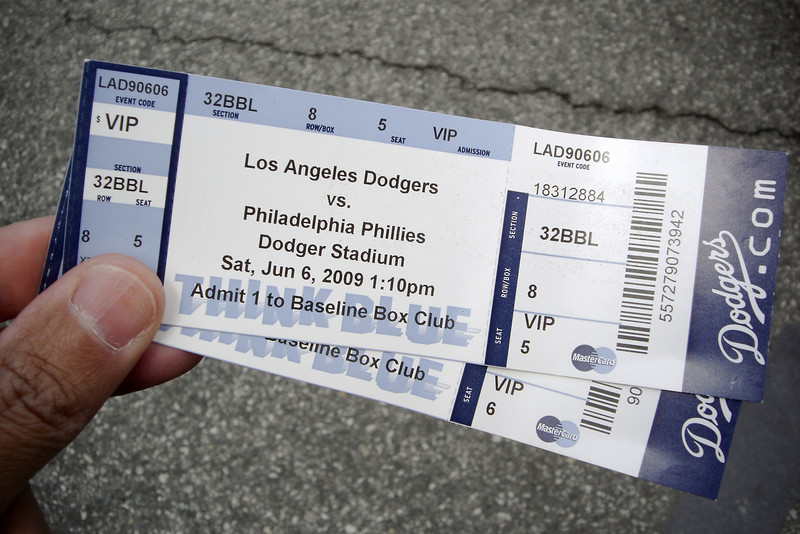 Thanks to Valerie, I am standing in parking lot 8 at Dodger Stadium holding two tickets to today's matchup between first place teams in the National League East and West