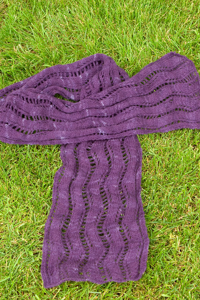 Lace Ribbon Scarf, by Veronik Avery, in Knitting Notions Laceweight merino. Love this pattern. Might make another one.
