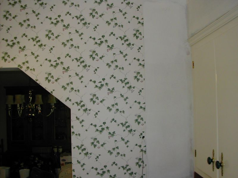 Wallpapering kitchen