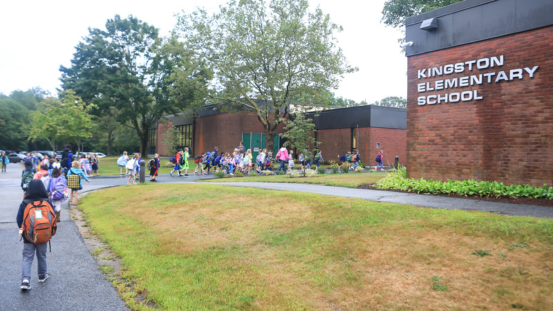Students head back to Kingston Elementary School for the first day of the 2017-18 school year.  Wicked Local Photo/Denise Maccaferri
