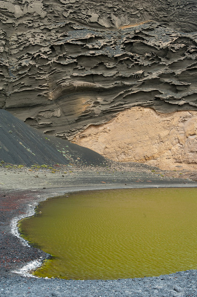 Crater and laguna in El Golfo, Lanzarote, Spain