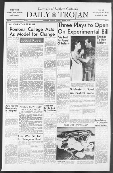 Daily Trojan, Vol. 54, No. 52, December 12, 1962