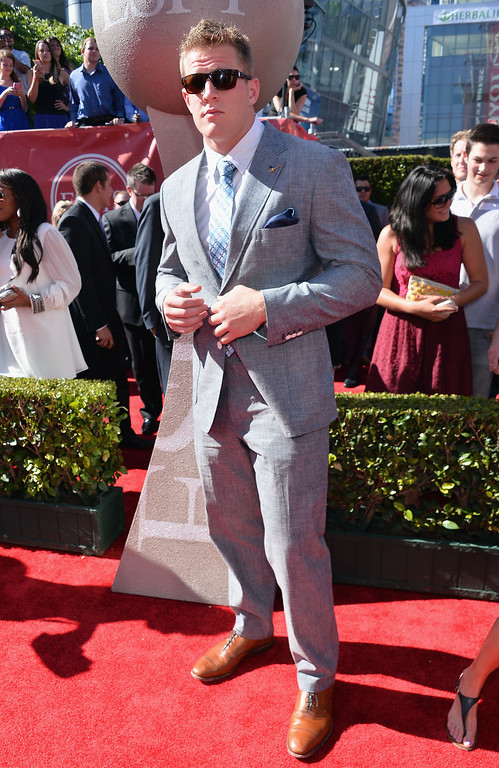 . NFL player JJ Watt  attends The 2013 ESPY Awards at Nokia Theatre L.A. Live on July 17, 2013 in Los Angeles, California.  (Photo by Alberto E. Rodriguez/Getty Images for ESPY)