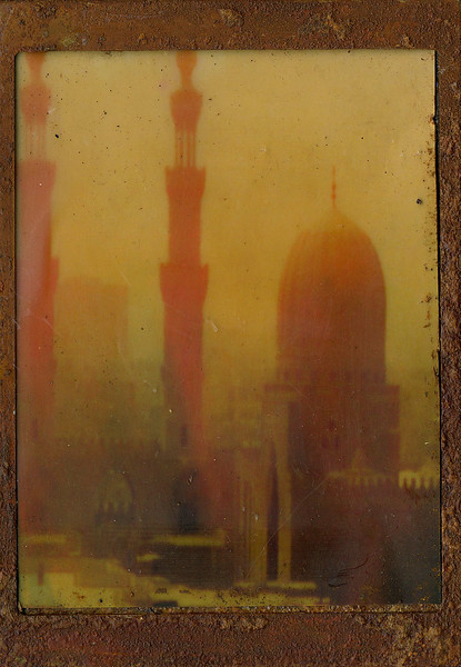 Minarets, encaustic on altered photo, 5x7