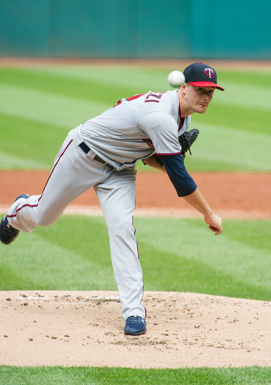 . Minnesota Twins starting pitcher Jake Odorizzi delivers to Cleveland Indians\' Francisco Lindor during the first inning of a baseball game in Cleveland, Thursday, Aug. 30, 2018. (AP Photo/Phil Long)