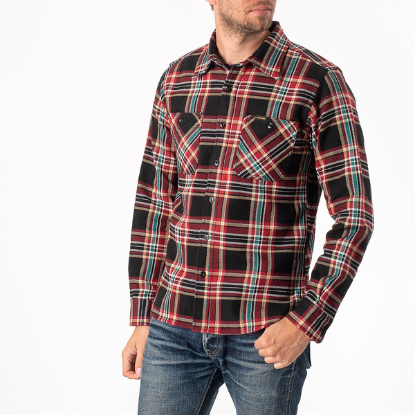 Black Crazy Check Ultra Heavy Flannel Work Shirt-3907.jpg