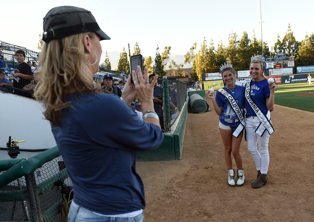 . Ms. Jr. Teen California Alina Carranza and Ms. California 2014 Sande Charles pose for a photo before throwing out the first pitches at the Quakes game at LoanMart Field in Rancho Cucamonga, CA, Friday, August 15, 2014. (Photo by Jennifer Cappuccio Maher/Inland Valley Daily Bulletin)