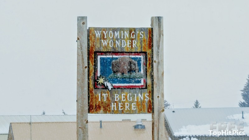 "Wyoming's Wonder ""It Begins Here"" Sign Near Kemmerer, Wyoming"