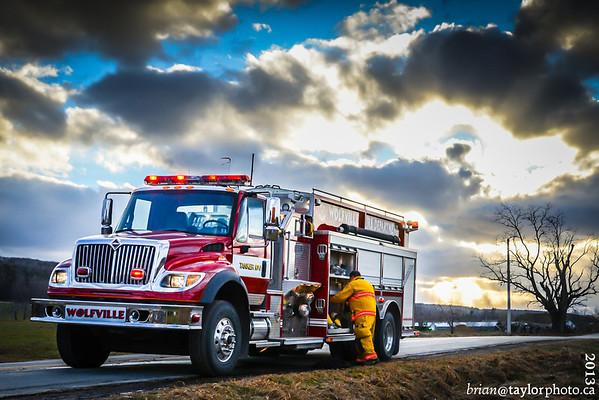 Chimney Fire, Gaspereau River Rd. Wolfville N.S., Feb. 1, 2013