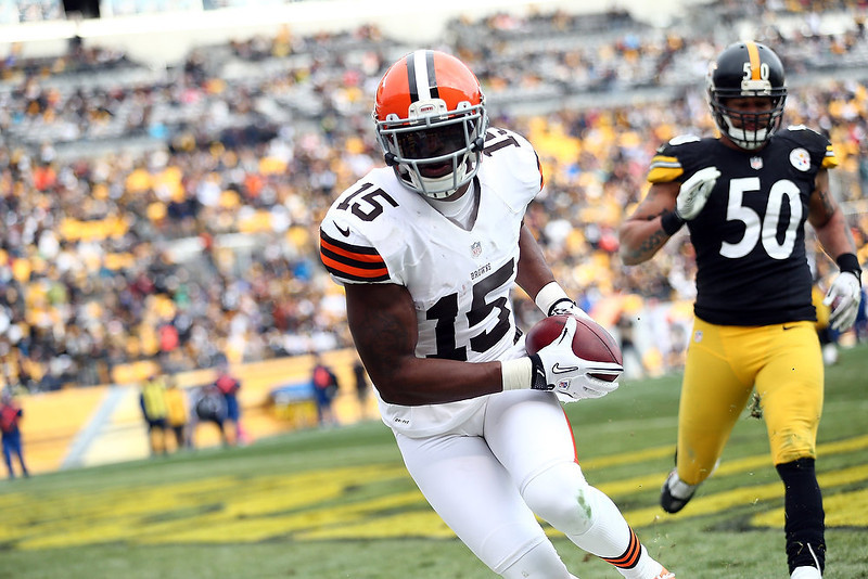 . Wide receiver Greg Little #15 of the Cleveland Browns scores a touchdown during the third quarter of the game against the Pittsburgh Steelers at Heinz Field on December 30, 2012 in Pittsburgh, Pennsylvania.  (Photo by Karl Walter/Getty Images)