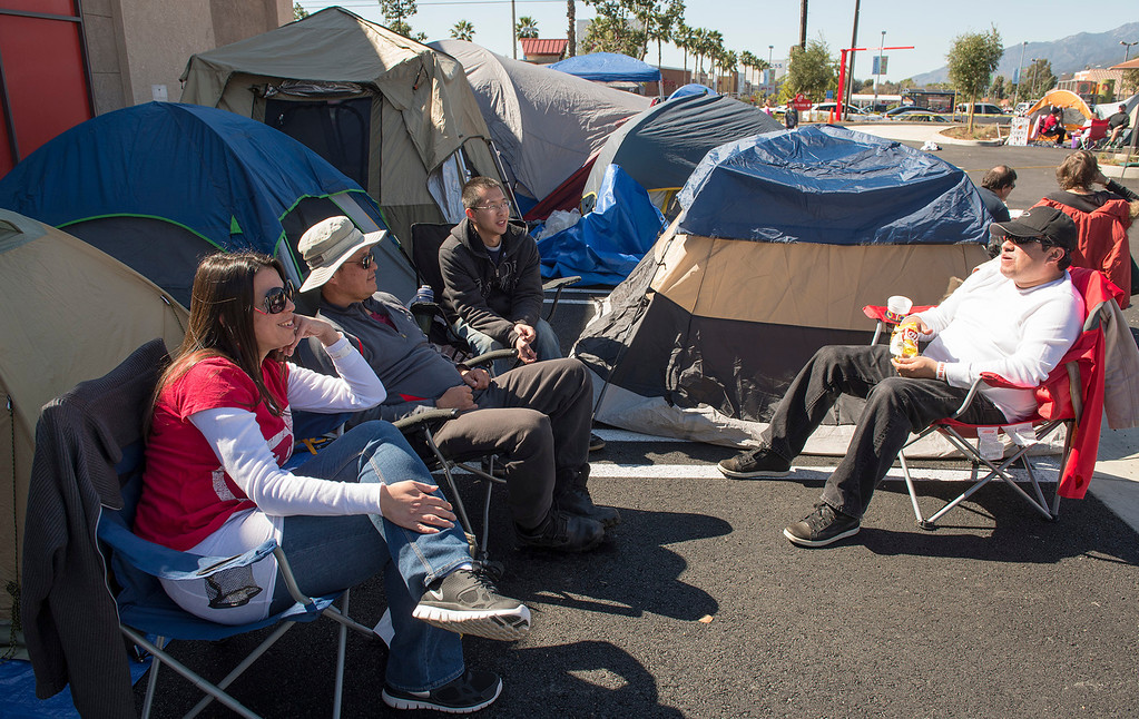 . Chick-fil-A contestants camp out at the company\'s new Azusa location to receive 52 free-meal coupons Feb. 20, 2013.  Contestants waiting for the day and staying overnight are treated to games and free meals.  (SGVN/Staff photo by Leo Jarzomb)