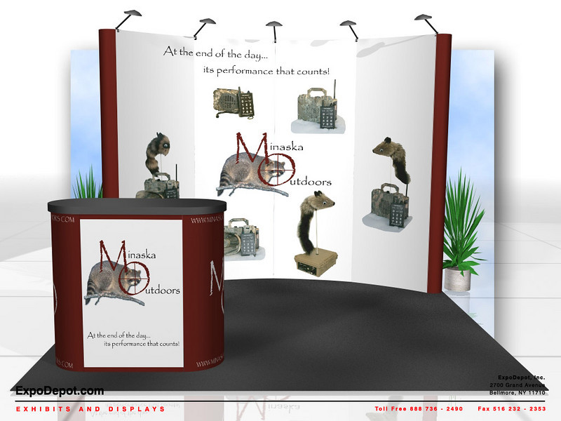 Minaska Outdoors, 10' Photomural Pop Up Rendering   http://expodepot.com/pop-up-displays-c-166.html