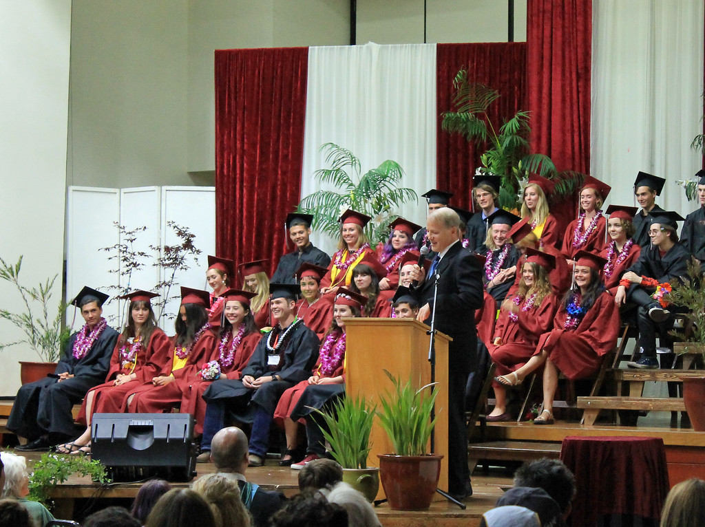 . Guest speaker and substitute teacher Bart Carpenter kept graduates and audience smiling.