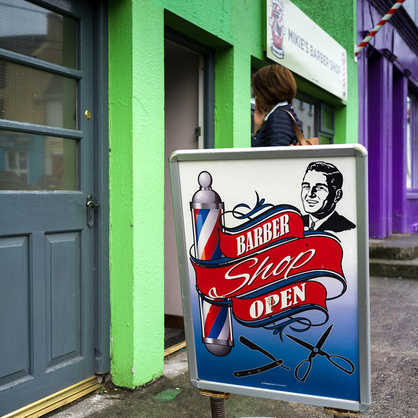 Signboard outside a barber shop, Ennistimon, County Clare, Ireland