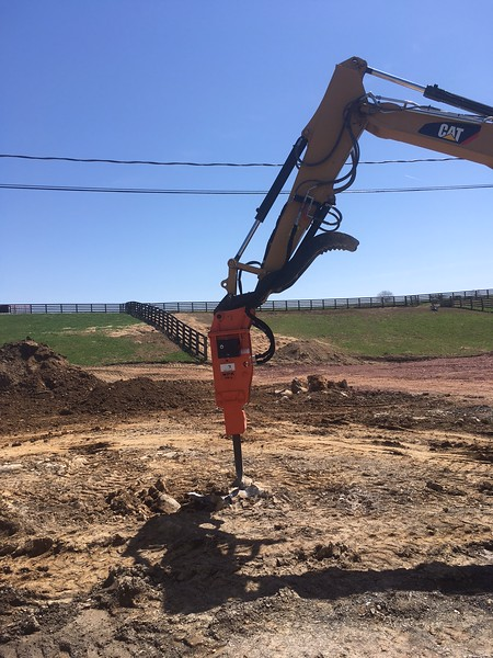 NPK PH4 hydraulic hammer with G015 autolube on Cat 308E - West Haven Farms, WV - Apr 2018 (4).JPG