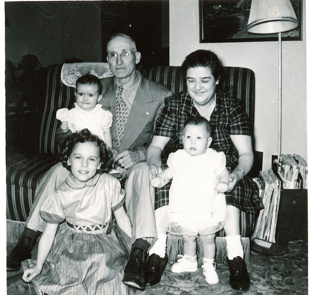 "Front row: Cheryl Ann Yount (1945-1983), Gary Allan Dew (1956-)  Back row: Carol Sue Yount  (1952-), Byron Elmer Dew (1893-1986), Mabelle Elizabeth (Coursey) Dew (1896-1961)  Written in the Rogers Reunion Photo Album Volume III page 38 ""Elmer & Mabel Dew"" ""Cheryl & Carol Yount, Gary Dew"""