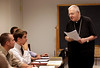 Luke Cusack from Grand Rapids, MI and Joe Van Havermaet from Rockford, Ill, listen as Archbishop James Keleher teaches Vatican II  at University of Saint Mary of the Lake, also called Mundelein Seminary on Sept. 19. The archbishop, retired for the Archdiocese of Kansas City in Kansas, teaches every Thursday. (Karen Callaway/Catholic New World)