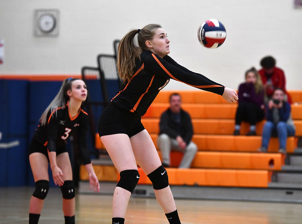 10/18/2019 Mike Orazzi | StaffrTerryville's Tiffany Pires (8) during Friday night's girls volleyball match with Goodwin Tech in Terryville. r