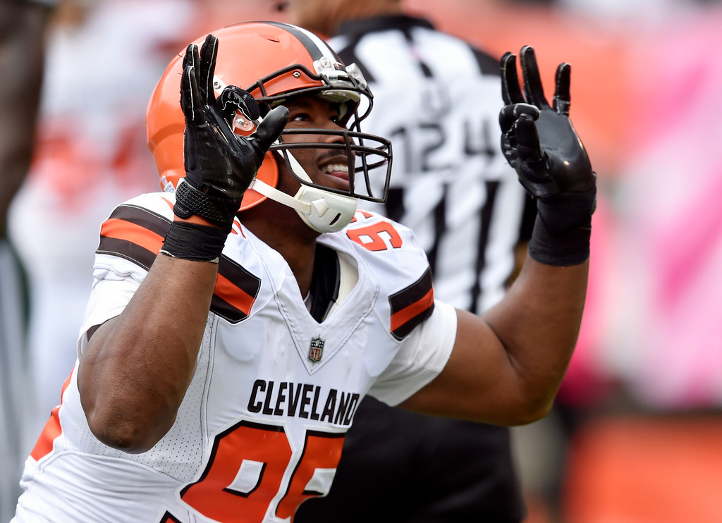 . Cleveland Browns defensive end Myles Garrett celebrates a sack during the first half of an NFL football game against the New York Jets, Sunday, Oct. 8, 2017, in Cleveland. (AP Photo/David Richard)