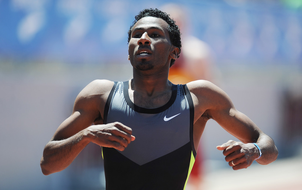 . Yosef Masrahi of HSI International wins the 400 meter dash Invite Elite during the Mt. SAC Relays in Hilmer Lodge Stadium on the campus of Mt. San Antonio College on Saturday, April 20, 2012 in Walnut, Calif.    (Keith Birmingham/Pasadena Star-News)