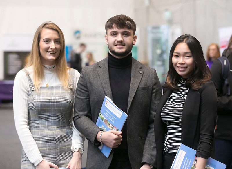 09/03/2019. Pictured at the Waterford Institute of Technology Science Careers Day.  Pictured are Hannah Walsh, Leonat Chilli, April Moey all from Waterford city. Picture: Patrick Browne