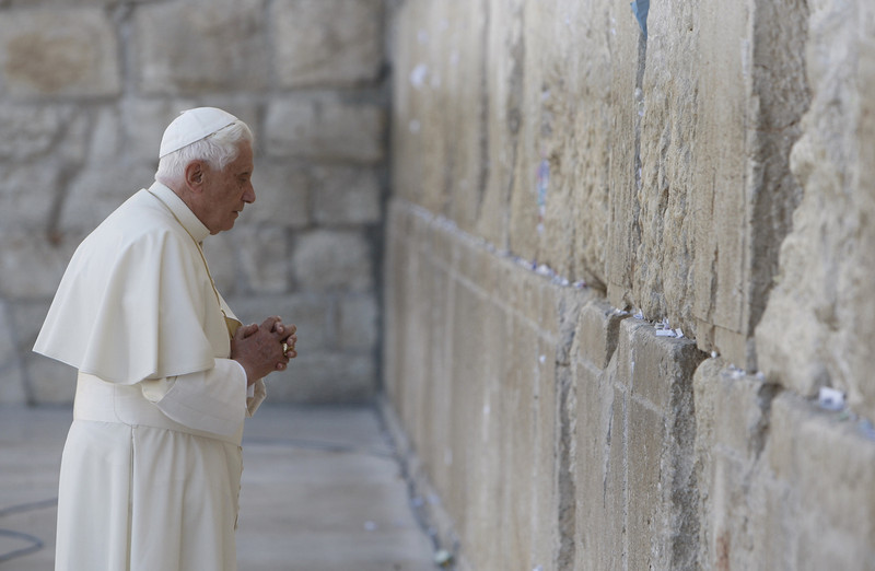 . A file picture taken on May 12, 2009 shows Pope Benedict XVI praying at the Western Wall in Jerusalem\'s Old City. Pope Benedict XVI announced on February 11, 2013 he will resign on February 28 because his age prevented him from carrying out his duties, an unprecedented move in the modern history of the Catholic Church.  AFP PHOTO/POOL/RONEN ZVULUNRONEN ZVULUN/AFP/Getty Images