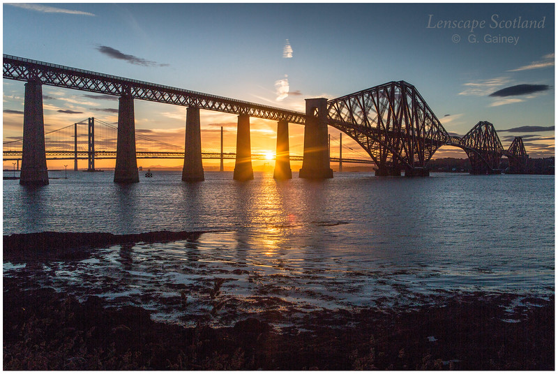 Forth Bridge, midsummer sunset