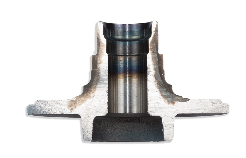 Automotive wheel bearing showing heat treat areas.