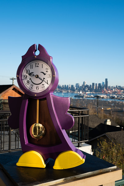 Abi's clock and the Seattle skyline.