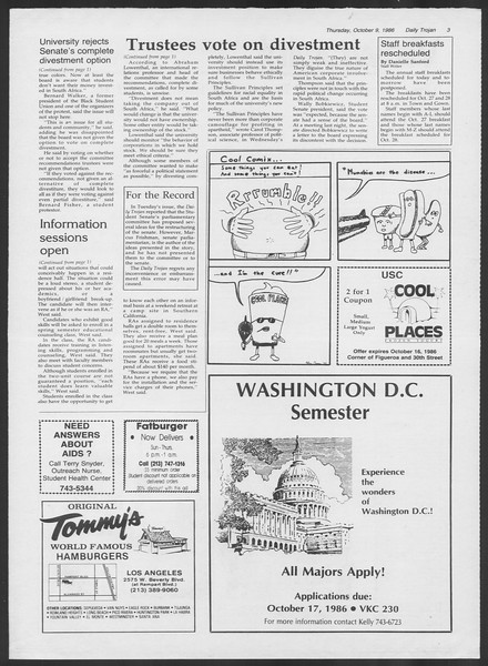Daily Trojan, Vol. 102, No. 28, October 09, 1986
