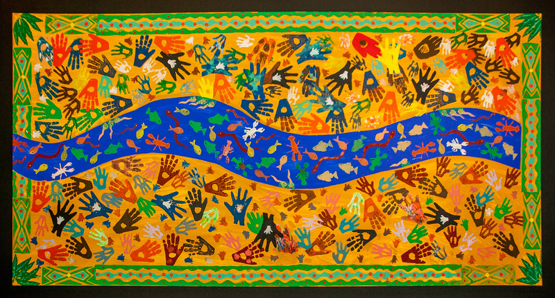 Aboriginal painting at the State Library of Victoria in Melbourne, Australia.