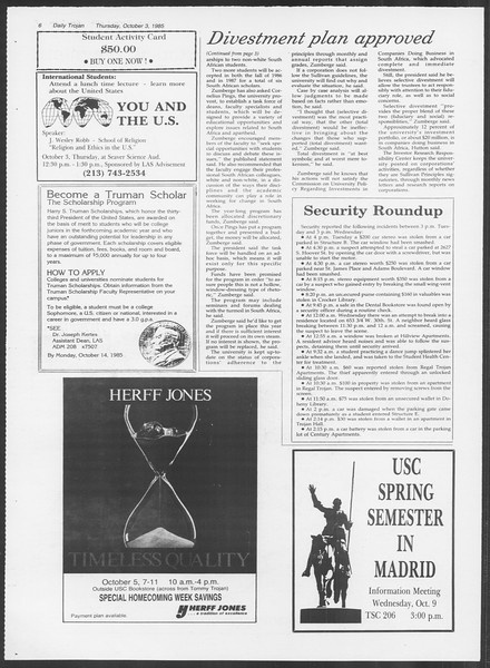 Daily Trojan, Vol. 100, No. 23, October 03, 1985