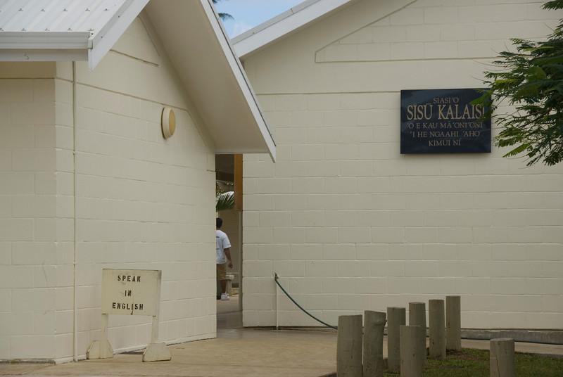 Ironic Sign at Mormon Church - Tonga