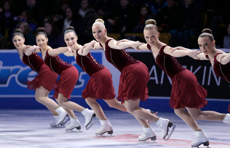 . The Haydenettes synchronized skaters perform at a figure skating exhibition called the Skating Spectacular at the U.S. Figure Skating Championships Sunday, Jan. 12, 2014 in Boston. (AP Photo/Steven Senne)