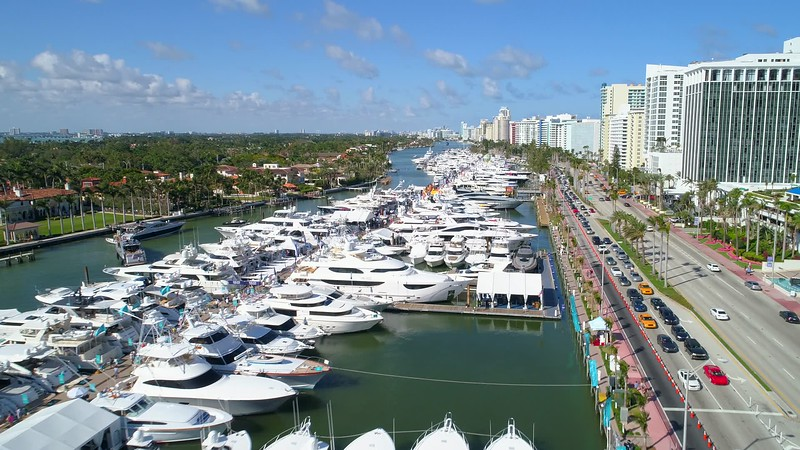 Drone footage Miami Beach 2018 boat show