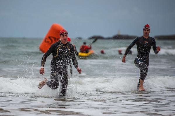 Sandman Triathlon - Sprint Swim Exit Red and Yellow Caps