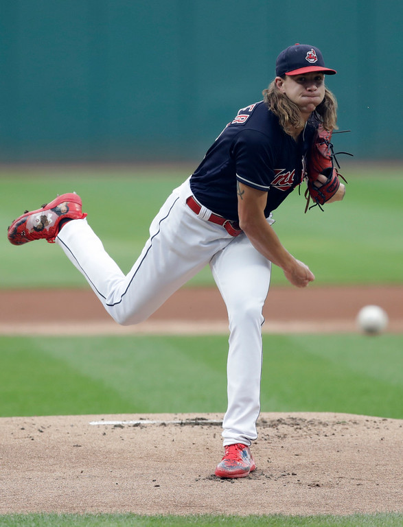 . Cleveland Indians starting pitcher Mike Clevinger delivers in the first inning of the team\'s baseball game against the Minnesota Twins, Wednesday, Aug. 8, 2018, in Cleveland. (AP Photo/Tony Dejak)