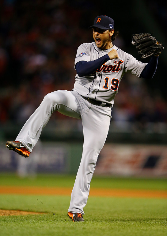 . BOSTON, MA - OCTOBER 12:  Anibal Sanchez #19 of the Detroit Tigers reacts after a strikeout in the sixth inning against the Boston Red Sox during Game One of the American League Championship Series at Fenway Park on October 12, 2013 in Boston, Massachusetts.  (Photo by Al Bello/Getty Images)
